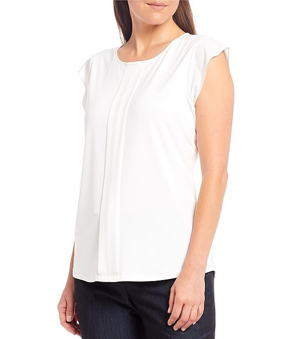 Color:True White - Image 1 - Lucia Matte Jersey Round Neck Cap Sleeve Blouse