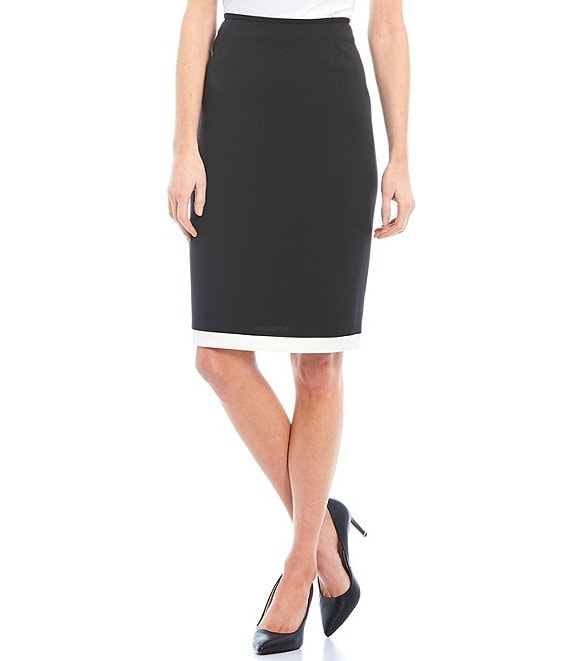 Color:Black/Ivory - Image 1 - Lulu Contrast Hem Mid Rise Crepe Pencil Skirt