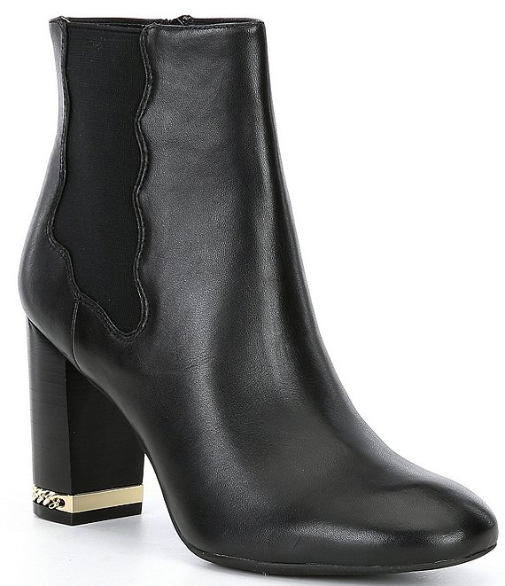 Preston & York Olina Leather Side Zip Chain Heel Detail Chelsea Booties
