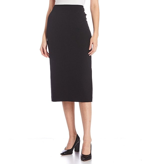 Color:Black - Image 1 - Taylor Stretch Crepe Suiting Midi Pencil Skirt