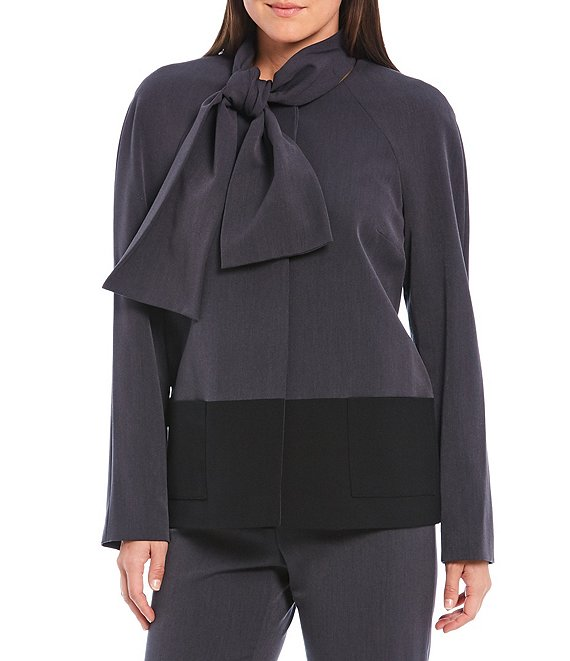 Color:Grey/Black - Image 1 - Vera Detachable Neck Tie Colorblock Blazer