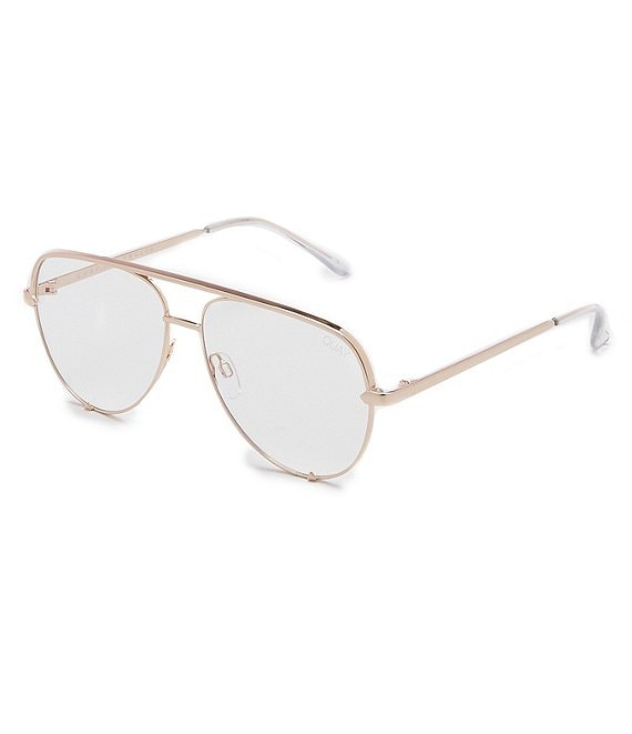 Color:Gold Clear - Image 1 - High Key Aviator Blue Light Glasses