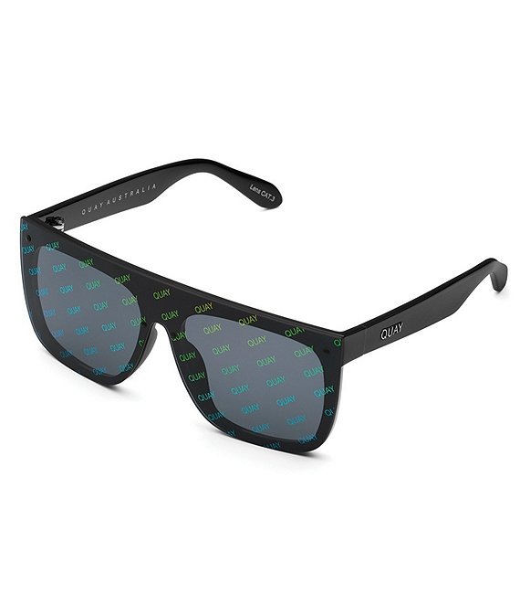 Color:Black - Image 1 - #QUAYXJLO Jaded Shield Square Sunglasses