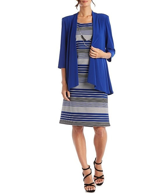 Color:Royal - Image 1 - 3/4 Sleeve Flyaway 2-Piece Jacket Dress