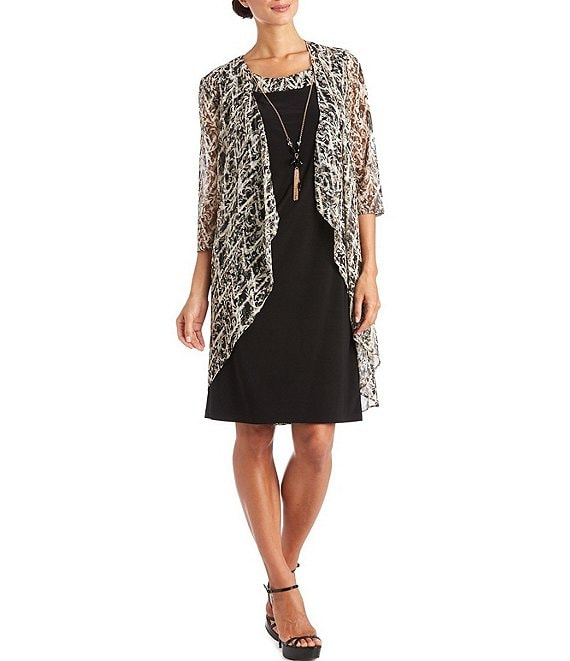 Color:Black/Taupe - Image 1 - 3/4 Sleeve Printed Mesh 2-Piece Jacket Dress