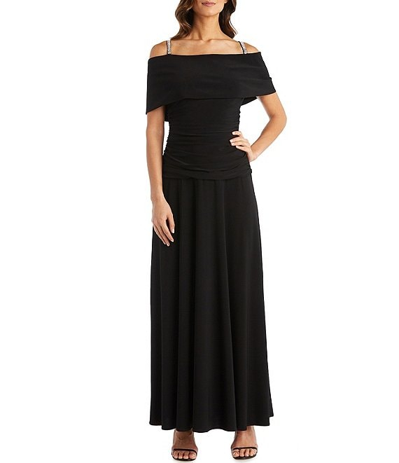Color:Black - Image 1 - Banded Off-the-Shoulder Ruched Bodice Dress