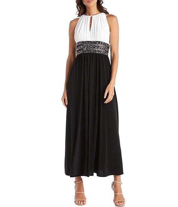 Color:Ivory/Black - Image 1 - Colorblock Halter Neck Sleeveless Beaded Long Dress