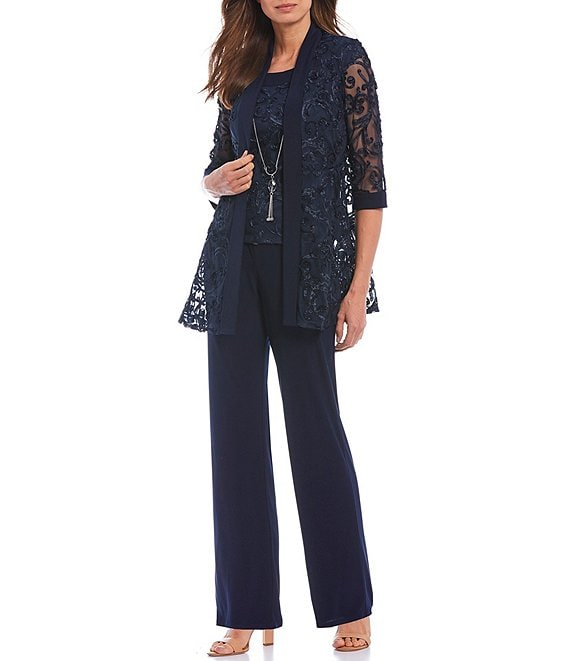 Color:Navy - Image 1 - Embroidered Soutache Mesh Lace 3-Piece Pant Set