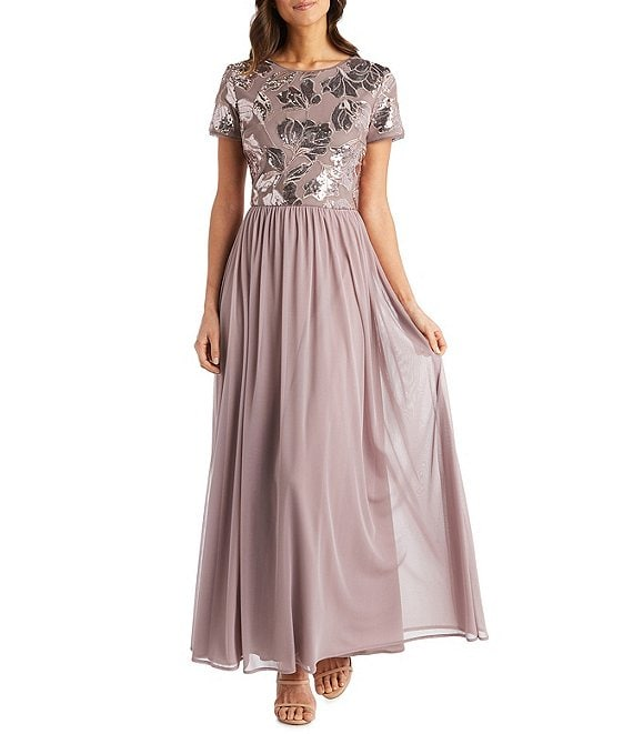 Color:Mauve - Image 1 - Floral Embroidered Bodice A-Line Gown