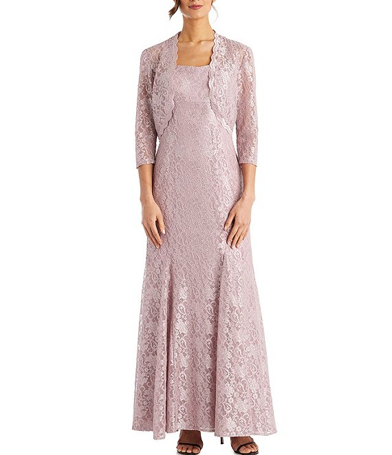 Color:Blush - Image 1 - Floral Glitter Lace Jacket Gown