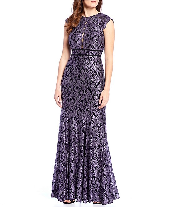 R & M Richards Glitter Lace Scalloped Cap Sleeve Mermaid Gown
