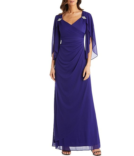 Color:Purple - Image 1 - Matte Chiffon Caplet Sweetheart Neck Ruched Dress