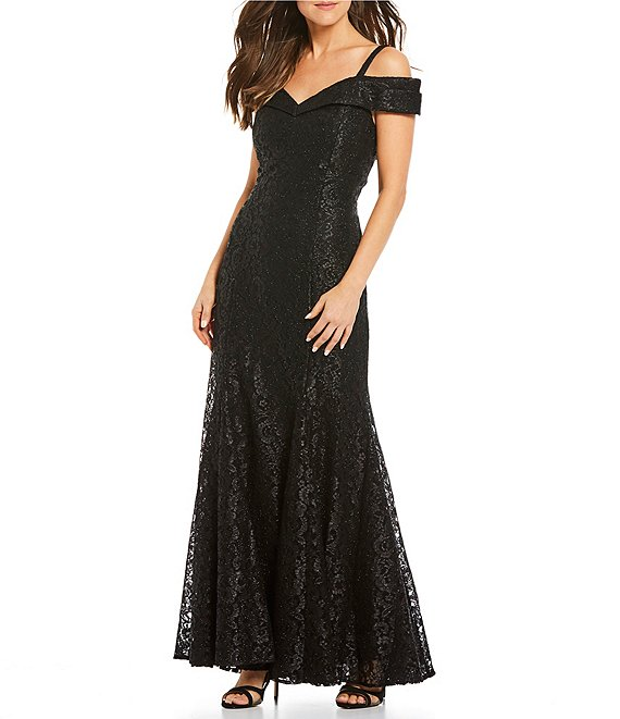 Color:Black - Image 1 - Off-the-Shoulder Sweetheart Neck Lace Gown