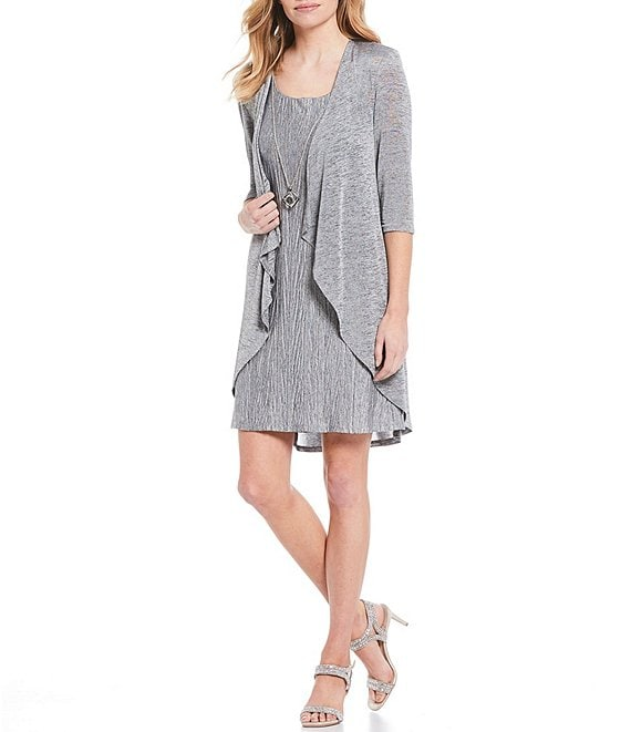Color:Grey/Black - Image 1 - Petite Size 2-Piece Pleated Flyaway Jacket Dress