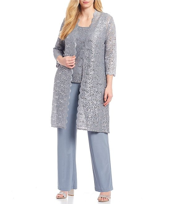 Color:Silver - Image 1 - Plus Scallop Glitter Lace Duster 3 Piece Pant Set