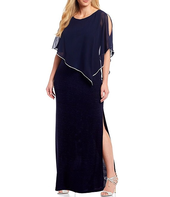 Color:Navy - Image 1 - Plus Size Metallic Stripe Knit 3/4 Cold Shoulder Sleeve Asymmetric Poncho Gown