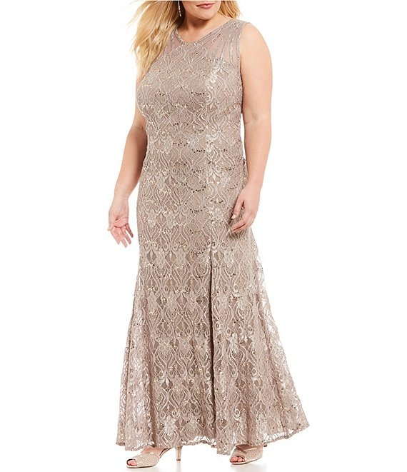 R & M Richards Plus Size Sleeveless Lace Mermaid Dress