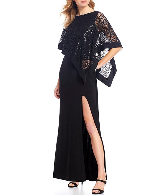 Color:Black - Image 1 - Sequin Lace Poncho Overlay Front Slit Gown