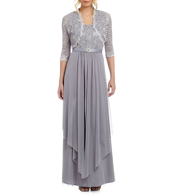 Color:Silver - Image 1 - Sequined Lace & Chiffon 2-Piece Jacket Dress
