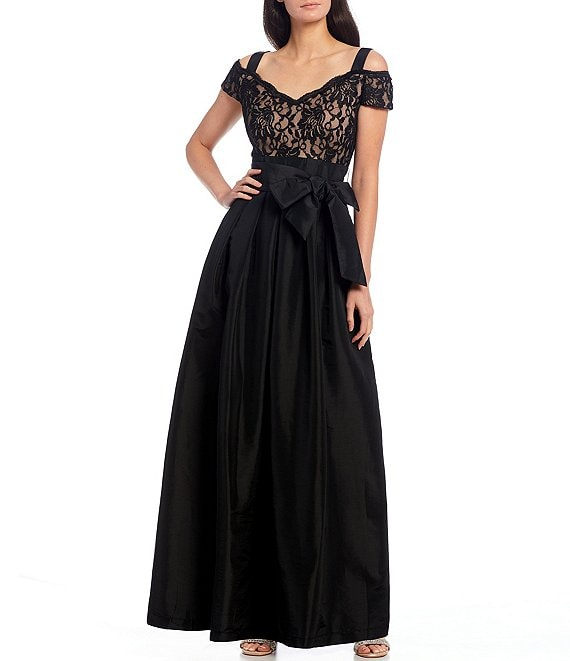 Color:Black/Taupe - Image 1 - Sweetheart Neck Cold Shoulder Cap Sleeve Bow Waist Taffeta Ball Gown