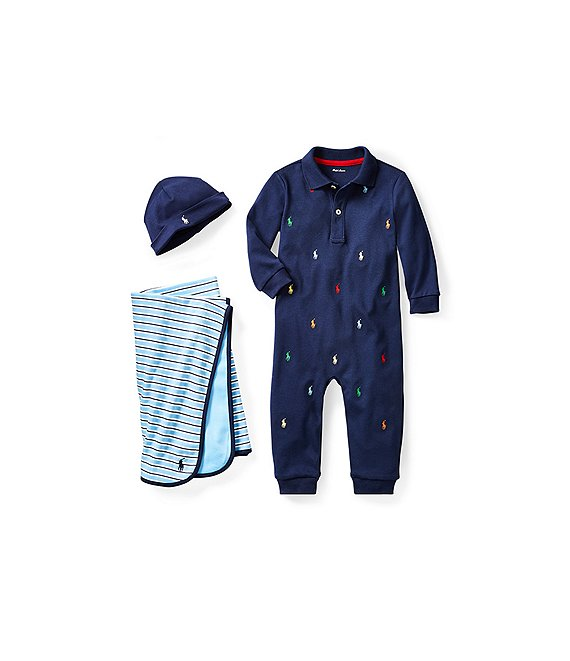 Ralph Lauren Childrenswear Baby Boys Polo Pony/Stripe Layette Separates Bundle Collection