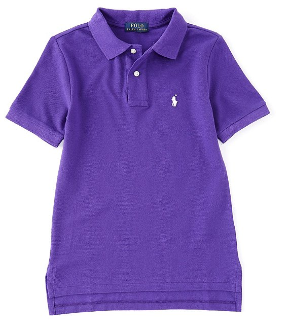 Color:Chalet Purple - Image 1 - Childrenswear Big Boys 8-20 Collegiate Short-Sleeve Mesh Polo Shirt