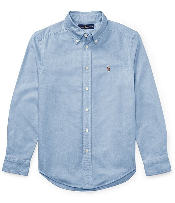 Color:Oxford Blue - Image 1 - Childrenswear Big Boys 8-20 Solid Long-Sleeve Oxford Shirt