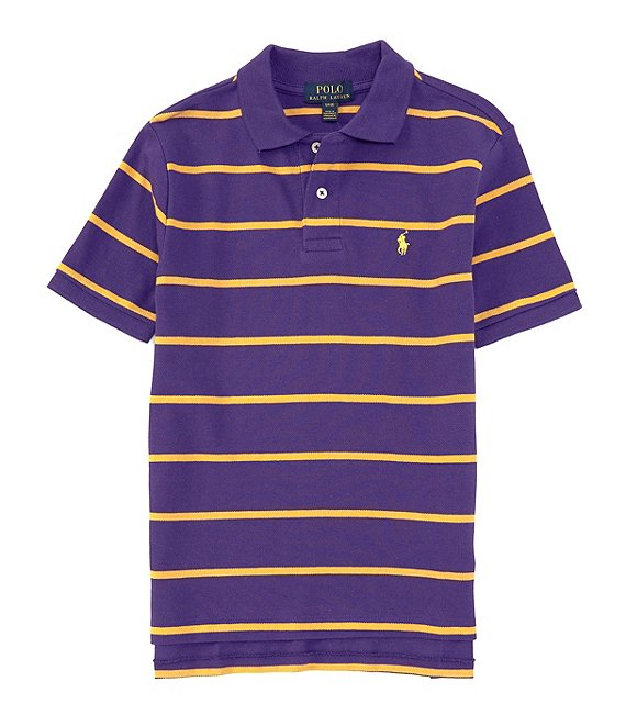 Color:Chalet Purple/Basic Gold - Image 1 - Childrenswear Big Boys 8-20 Short-Sleeve Collegiate Striped Mesh Polo Shirt