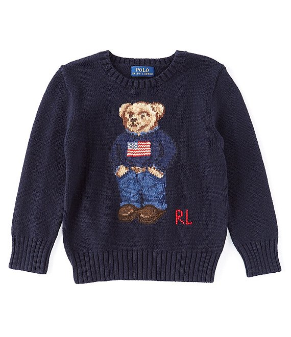 Color:Hunter Navy - Image 1 - Childrenswear Little Boys 2T-7 Americana Polo Bear Sweater