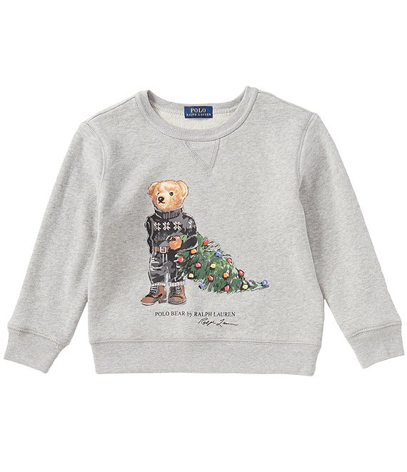 Polo Ralph Lauren Childrenswear Little Boys 2T-7 Holiday Bear Christmas Tree Fleece Sweatshirt