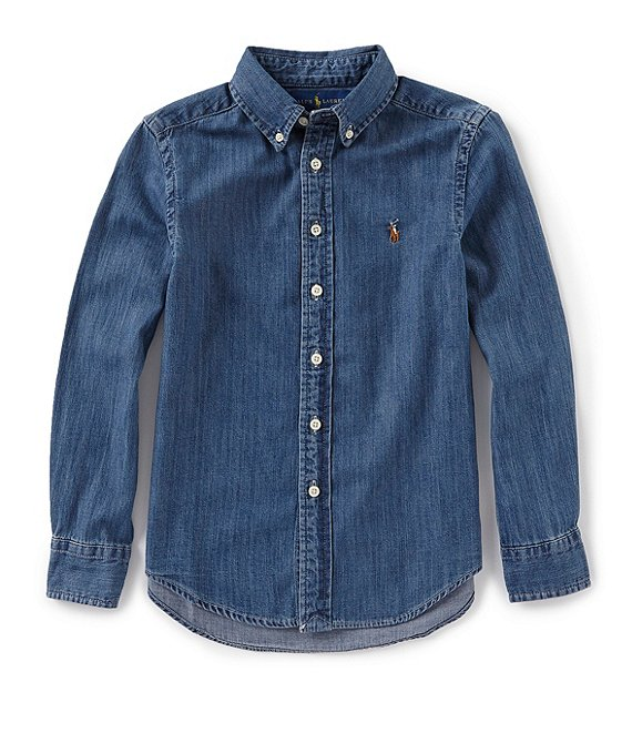 Color:Dark Blue - Image 1 - Childrenswear Little Boys 2T-7 Long-Sleeve Chambray Sportshirt