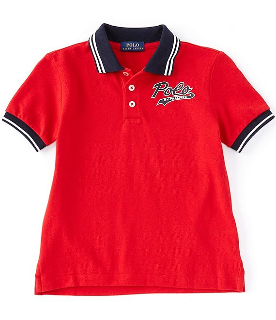 Color:RL2000 Red - Image 1 - Childrenswear Little Boys 2T-7 Mesh Logo Polo Shirt