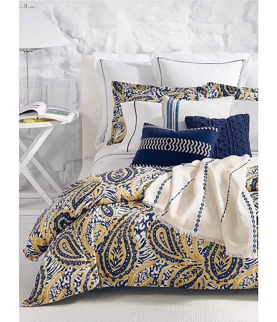 Color:Blue/Yellow - Image 1 - Parrot Cay Collection Rhylee Paisley Comforter