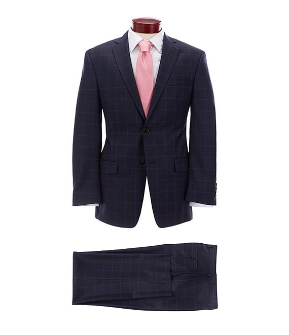 Color:Navy - Image 1 - Athletic Fit Navy Plaid Wool Suit