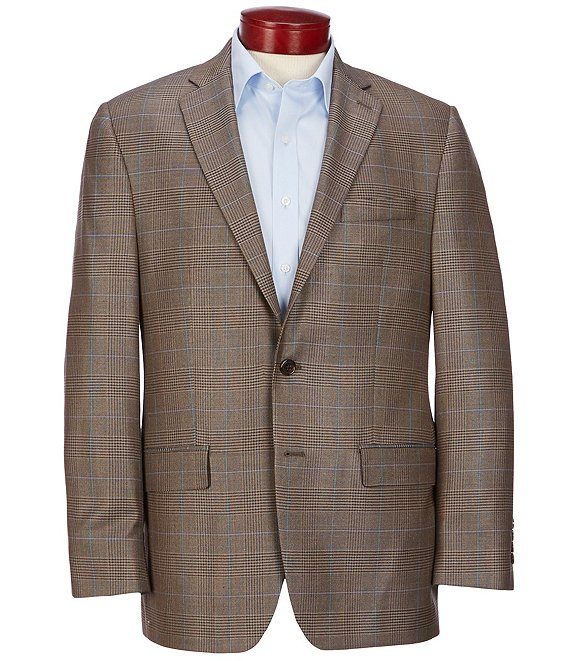 Color:Brown - Image 1 - Classic Fit Brown Plaid Wool Blend Sportcoat