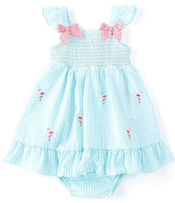 Color:Aqua - Image 1 - Baby Girls 12-24 Months Flamingo-Embroidered Checked Seersucker A-Line Dress