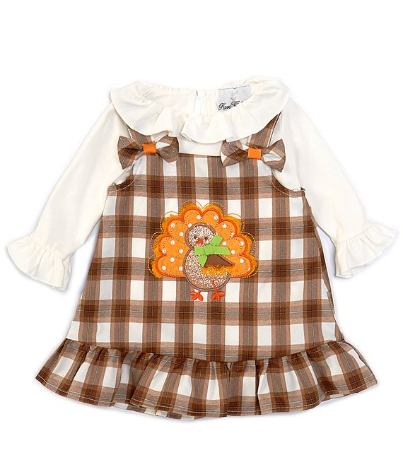 Color:Brown - Image 1 - Baby Girls 3-24 Months Long-Sleeve Bodysuit & Thanksgiving Turkey Plaid Jumper Set