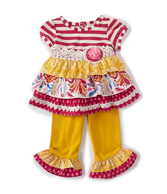 Color:Raspberry - Image 1 - Baby Girls 3-24 Months Mixed-Media Fit-And-Flare Dress & Leggings