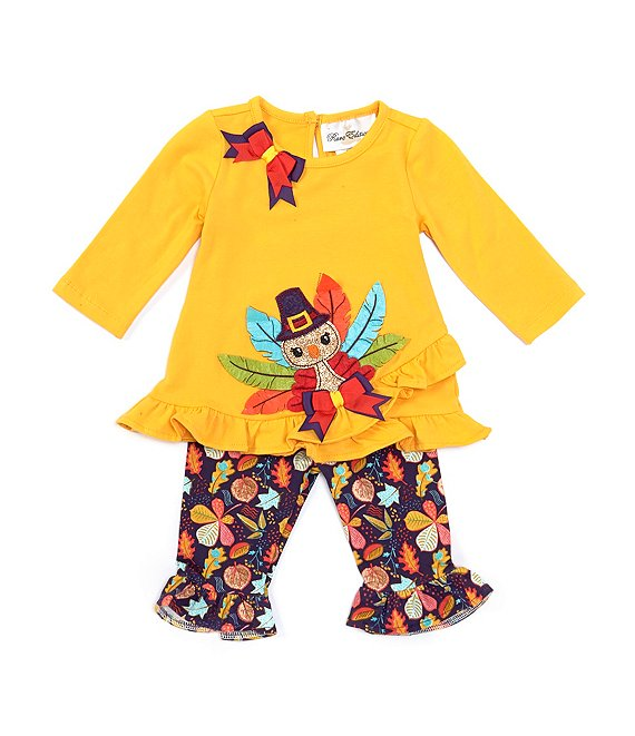 Color:Yellow - Image 1 - Baby Girls 3-24 Months Thanksgiving Turkey Tunic & Printed Ruffle-Hem Leggings Set