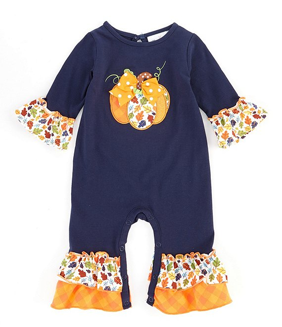 Color:Navy - Image 1 - Baby Girls 3-9 Months Long-Sleeve Pumpkin-Applique Coverall
