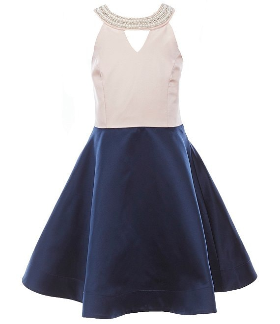 Color:Navy - Image 1 - Big Girls 7-16 Colorblock Scuba Crepe Fit-And-Flare Dress
