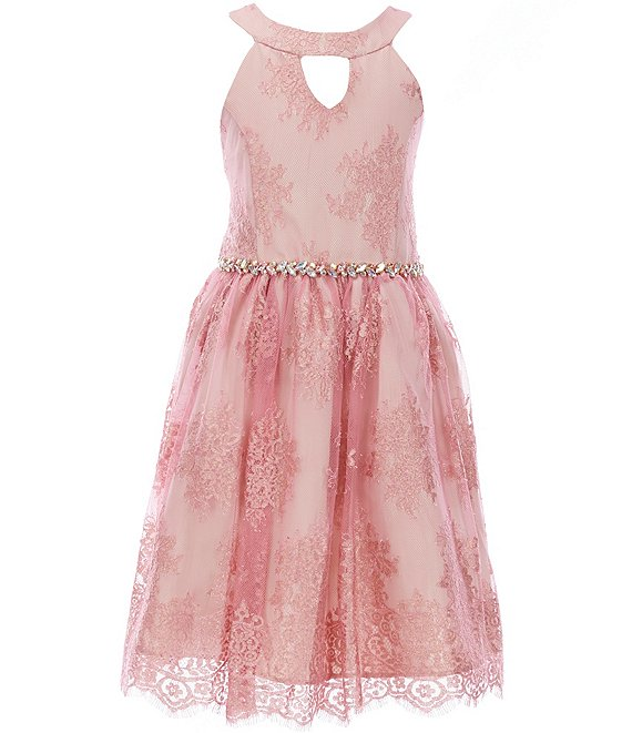 Color:Mauve - Image 1 - Big Girls 7-16 Foiled-Lace Fit-And-Flare Dress