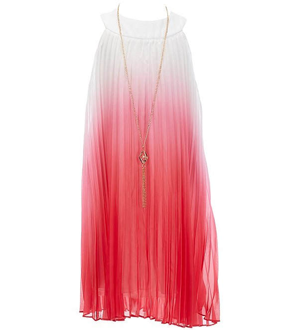 Color:Pink - Image 1 - Big Girls 7-16 Ombre Pleated Shift Dress