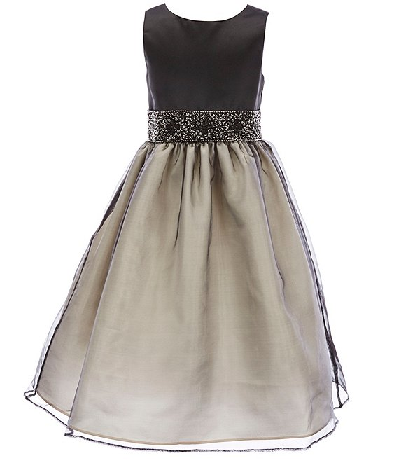 Color:Black - Image 1 - Big Girls 7-16 Satin/Two-Tone Beaded Trim Waist Organza A-Line Dress