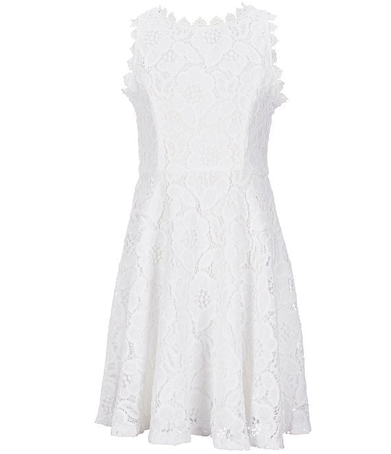 Color:New White - Image 1 - Big Girls 7-16 Two-Tone-Lace Fit-And-Flare Dress