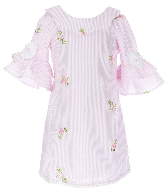 Color:Pink - Image 1 - Little Girls 2T-6X Bell-Sleeve Embroidered Shift Dress