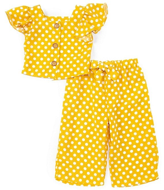 Rare Editions Little Girls 2T-6X Flutter-Sleeve Dotted Top & Pant Matching Set