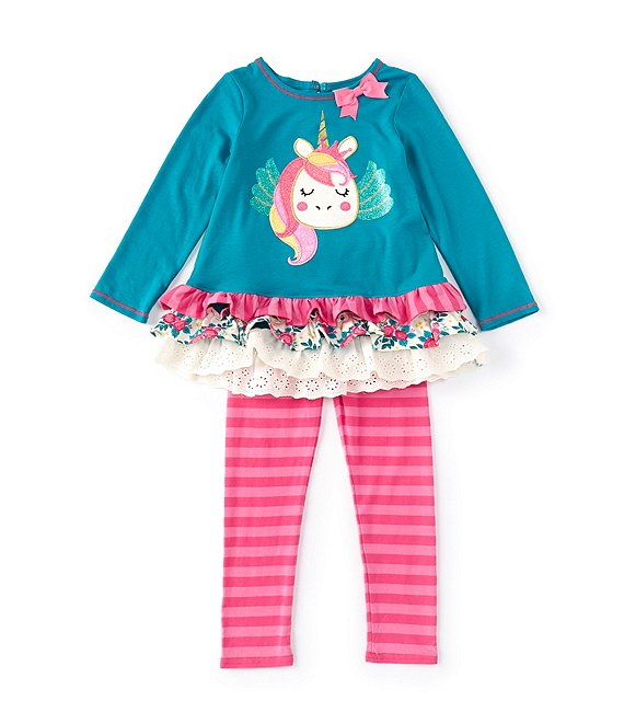 Color:Teal - Image 1 - Little Girls 2T-6X Long-Sleeve Unicorn Mix-Media Hem Tunic & Striped Legging Set