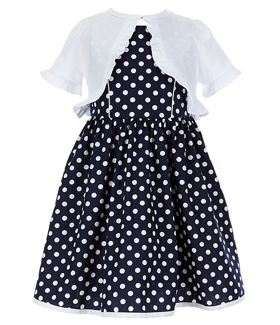 Color:Navy - Image 1 - Little Girls 2T-6X Short-Sleeve Solid Jersey-Knit Cardigan & Sleeveless Dot-Printed Poplin Fit-And-Flare Dress Set