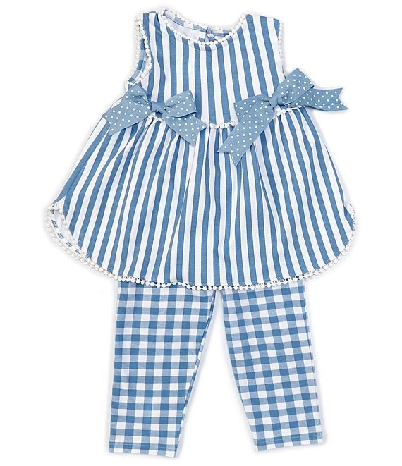 Color:Blue - Image 1 - Little Girls 2T-6X Side-Bows Stripe Top & Checked Leggings Set